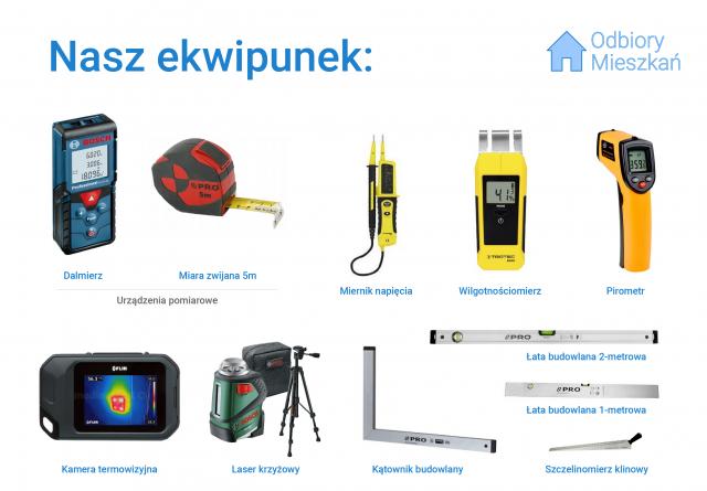 Nasi inżynierowie używają specjalistycznych narzędzi podczas odbiorów technicznych mieszkań.