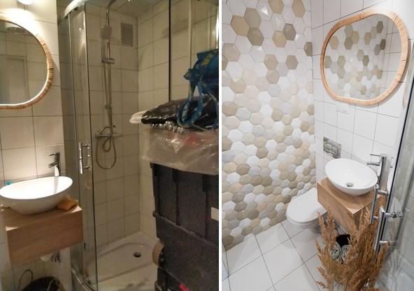 Świetny przykład jak ważny jest czysty wygląd łazienki i porządek w niej. Pierwsza mimo jasnych kafelków i nowego zlewu sprawia wrażenie zakurzonej graciarni, druga to mała acz higieniczna i nowoczesna przestrzeń.