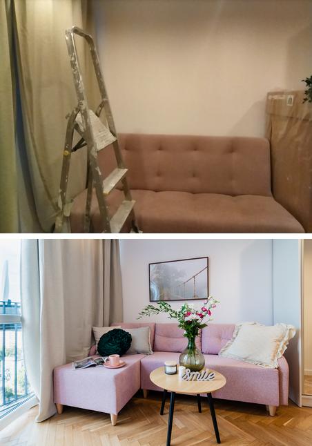 Kawalerka ze starą, obskurną kanapą stała się nowoczesnym, pełnym ciepła i przytulnym zakątkiem do odpoczynku.