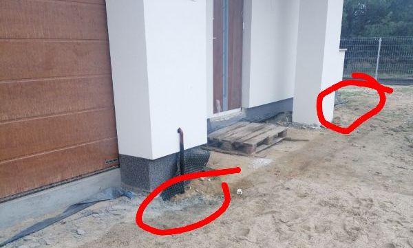 Brak opaski wokół budynku